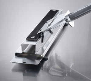Simply slide your griddle scraper blade along our sharpening stone to maximize blade performance